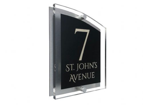 Arc Shape - Clear Acrylic House Sign - Black Colour with Double Cream text in Font  1